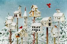 16 Embossed Boxed Christmas Cards Cardinals Bird houses Winter White Birdhouses