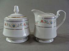 Tivoli China Creamer & Sugar Bowl, #8305 Pattern W/Blue Shells & Pink Flowers