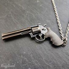 Revolver Pistola De Encanto Collar Colgante Cadena De Metal Vaquero Disfraz Militar