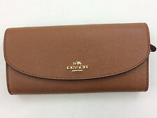New Authentic Coach F54009 Slim Envelope Crossgrain Leather Wallet Saddle Brown