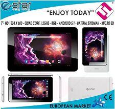 TABLET ESTAR 1.2 GHZ QUAD CORE 7 BLANCA BEAUTY 512MB RAM ANDROID 5.1 LIQUIDACION