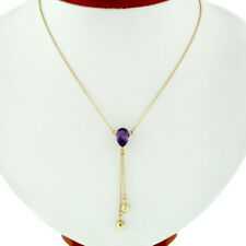 14k Gold 1.54ct Pear Amethyst & Faceted Bead Dangle Tear Drop Lavaliere Necklace