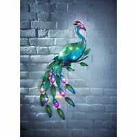12Multi Coloured LED Light Solar Powered Gems Peacock Wall Art Garden Decoration