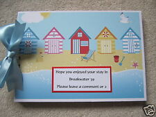 A5 30 page Beach Hut theme visitors comments book personalised with your wording