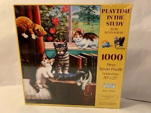 """Playtime in the Study by Kevin Walsh 1000pc Puzzle 20""""x27"""" New Sealed"""