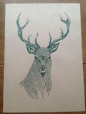 Stag / Red Deer Print Scottish Rustic