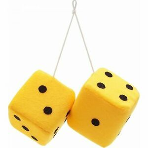 """3"""" Custom Yellow Fuzzy Hanging Rearview Mirror Dice w/ Black Dots Pair GM A-body"""