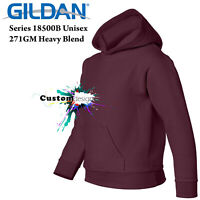 Gildan Maroon Hoodie Heavy Blend Basic Hooded Sweater Boy Girl Youth Kids