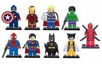 9 Pcs DC MARVEL MINI FIGURES FIT LEGO  MINIFIG AVENGERS BATMAN HULK THOR IRONMAN