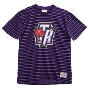 Mitchell & Ness Toronto Raptors Front Back Striped T Shirt Size XL NWT
