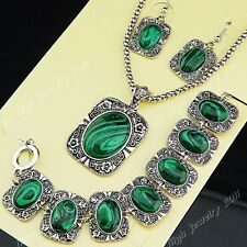 2014 Freeshipping Malachite Necklace Earrings Bracelet Women Vintage Jewelry Set