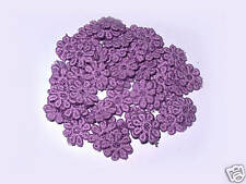 50 PURPLE GUIPURE LACE VINTAGE LOOKING FLOWERS 12MM