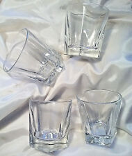 'ROCK' GLASSES! CLEAR FACETED GLASS, FABULOUS! SET OF FOUR(4),NWT, FREE SHIP!