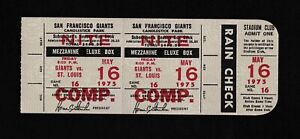1975 Lou Brock HR #136 Full ticket stub comp San Francisco Giants Cardinals