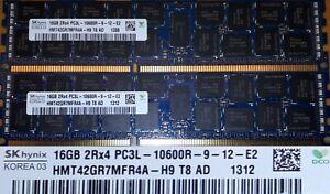 32GB Memory DIMM DDR3 1333Mhz PC3L-10600R Load Reduced ECC Regist 2x16GB 240 Pin