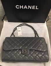 NWT Chanel Gray Quilted Leather 'CC' Flap Drawstring Shopping Bag Runway 2014