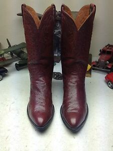 RARE CUSTOM SPECIAL EDITION McCREEDY SCHREIBER LUCCHESE WINE OSTRICH BOOTS 11 D