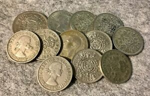 11 Florins / Two Shilling Pieces + 1 Half Crown Old British Coins Mixed Lot