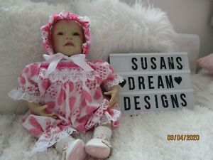 """BABY 3-6MTHS / 22"""" REBORN DOLL HEART TWO PIECE  ROMPER SET  -NEW"""
