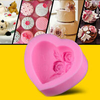 3D Rose Heart I LOVE YOU Silicone Soap Mold Mould Cake Fondant Decorating Tool
