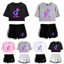 Kids Girls Crop Top Tik Tok T-shirt Shorts Sports Dress Pants Wear Set Outfits
