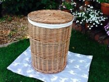 LARGE LIGHT STEAMED WILLOW  ROUND LAUNDRY BASKET WITH INTEGRAL HANDLES & LINING