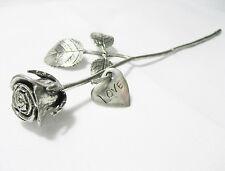 Pewter Metal Rose LOVE Engraved Heart Plate Handmade Valentines Anniversary Gift