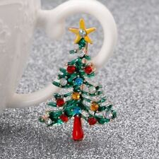 Vintage Christmas Tree Brooch Rhinestone Pin Collar Breastpin Jewelry Gift Women