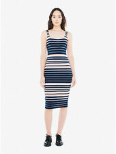 NEW American Apparel Women's Ponte Tank Dress in Navy/ Beige Size MEDIUM M