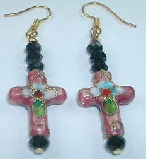 crafted  PINK FLORAL  CROSS CLOISONNE BLACK CRYSTAL Dangle  EARRINGS Wedding