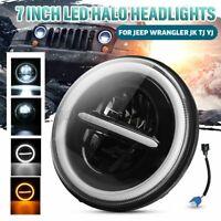 7'' Car DRL LED Headlight Angel Eye Hi/Lo Halo Turn Signal For JEEP for Nissan