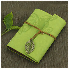 Leaves Leather Portable Notebook Refillable Personalized Blank Books GreenYellow