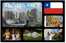 SANTIAGO,CHILE SOUVENIR NEUHEIT KÜHLSCHRANK-MAGNET FLAGGEN/SEHENSWÜRDIGKEITEN