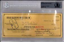 BECKETT-BAS WILLIAM WIRTZ-LOUIS OKMIN SIGNED 1962 CHICAGO BLACKHAWKS CHECK #5499