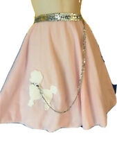 Halloween Costume Pink Furry Poodle Skirt Girls Osfm M/L W Silver Sequins Detail