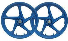PAIR 20' BMX Mag Wheels BLUE Aero 5 Spoke Retro Freestyle Front and Rear BMX