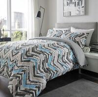 Warm 100% Brushed Cotton Flanelette Duvet Set Chevron Design Turquoise Grey