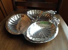 Nice 3 sectioned handled large silverplate serving bowl FANCY
