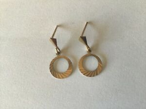 9ct Yellow Gold Drop Dangle Circle Earrings Not Scrap Jewellery