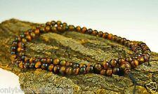 Mala Tigeraugen Kugeln Buddha Edelsteinschmuck Halskette Tigerauge Nepal 116b
