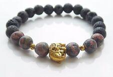 Mens Elephant Charm Red Leopardskin Gemstone & Lava Bead Bracelet Alloy Unisex
