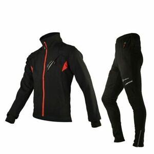 ROCKBROS Cycling Clothing Set Winter Thermal Fleece Pants Rainproof Windproof
