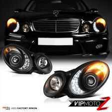 "03-06 Mercedes Benz W211 ""Nighthawk Black"" LED DRL Xenon Headlight [D2S] E55 AMG"