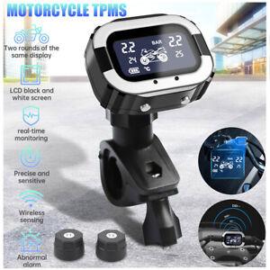 Motorcycle Wireless TPMS Tire Pressure Monitor LCD Display w/2 External Sensors