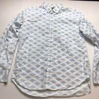 Bonobos Slim Fit Mens White Blue Aztec Southwestern Print Button Up Shirt A1398