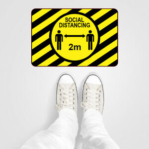Social distancing floor stickers 2m spacing vinyl floor sticker x 3 9597