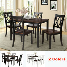 5 Piece Dining Table Set 4 Chairs Solid Wood Home Kitchen Breakfast Furniture Us