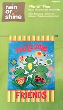 """New listing Small Garden Flag """"Welcome Friends"""" Playful Frog Trio Pyramid, Free Ship Nip!"""