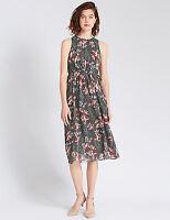New M&S Per Una Grey & Pink Floral Dress Sz UK 12 & 16