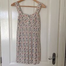 LADIES 'LOVE- TOPSHOP' IVORY/ MULTI FLORAL SHORT DRESS. SIZE S-M. GOOD CONDITION